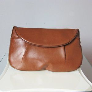 Vintage Warm Brown Faux Leather Clutch